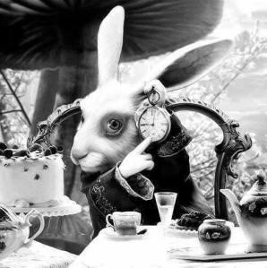 Le lapin d'Alice, image trouvée sur Facebook